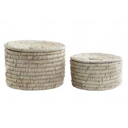 Set 2 cesta de fibra seagrass con tapa