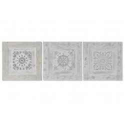 Set 3 cuadro lienzo pino azulejo relieve surtido 30x3x30 cm