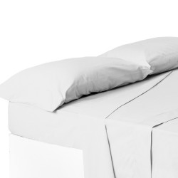 Juego de sábanas de cama 150 clásico blanco de algodón / poliéster Basic