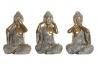 Set 3 figurita buda de suerte resina envejecido 23 cm . (ver , oir , callar )