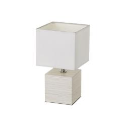 Lámpara de mesita de noche nórdica de madera y lino beige de 26x14x14 cm