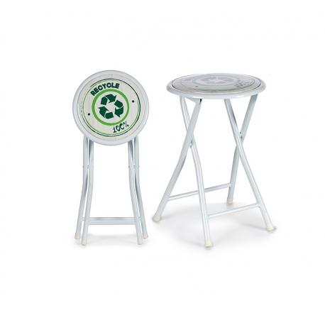 Taburete plegable blanco recycle fantasy