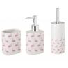 Conjunto Set baño 3 piezas ceramica de framencos rosa blanco