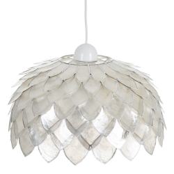 Lámpara de techo tulipa contemporánea de nácar blanco, de ø 36x21 cm