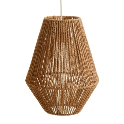 Lámpara de techo geométrica rústica de cuerda natural y metal de Ø 30x40 cm