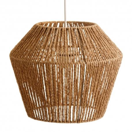 Lámpara de techo geométrica rústica de cuerda natural y metal de Ø 33x27 cm