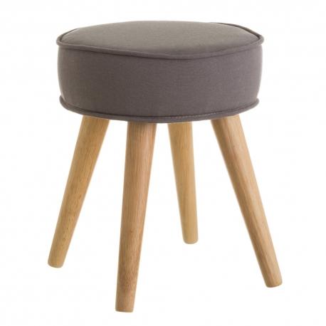 Taburete tapizado nórdico gris de madera de 41x34x34 cm