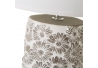 Lámpara de mesita de noche de flores shabby chic de cemento blanca de 33x19x19 cm