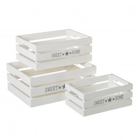 Set de 3 cajas de madera multiusos blancas Home