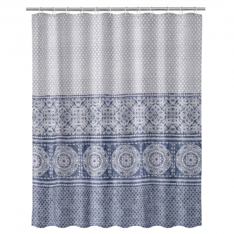 Cortina de baño arabesca exótica azul de tela y poliéster de 200x180 cm