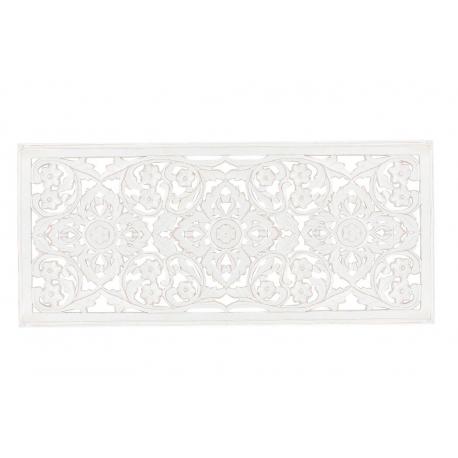 Mural tallado natural blanco de madera cabecero para decoración 90x40 cm .