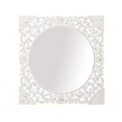 Espejo Mural tallado lavado blanco de madera para decoración 60 x 60 cm .