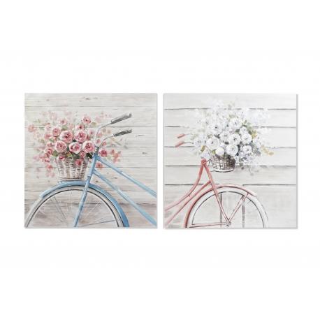 Set 2 cuadro lienzo madera bicicleta modelo surtido 100x100 cm