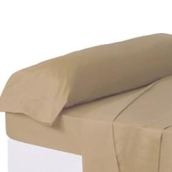 Juego de sábanas de cama 90 clásico beige de algodón / poliéster Basic