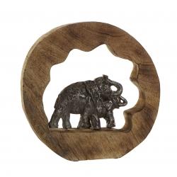 Figura decoracion madera mango aluminio elefantes 28x6x28 cm