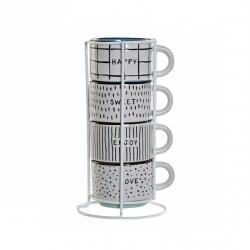 Juego de 4 tazas cafe apilables Happy Love con soporte metal . 150 ml