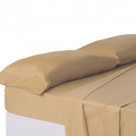 Juego de sábanas de cama 150 clásico beige de algodón / poliéster Basic