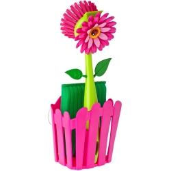 Set Fregador con Cepillo y Estropajo de Color Magenta, Multicolor, Rosa