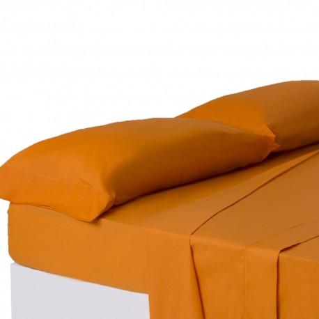 Juego de sábanas de cama 150 clásico naranja de algodón / poliéster Basic