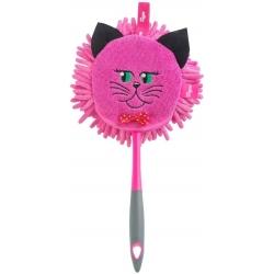 Plumero Redondo gato Microfibra de Color Rosa