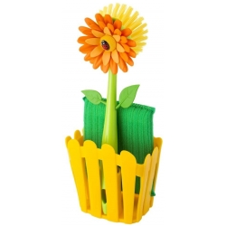 Set Fregador con Cepillo y Estropajo de Color Amarillo Multicolor