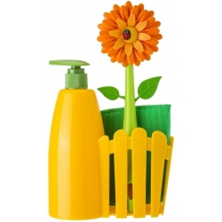 Set Fregadero con Dosificador de Jabón, Esponja y Cepillo Lavaplatos, Amarillo