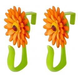Gancho para Puerta, naranja y Verde Flower Power 2u.