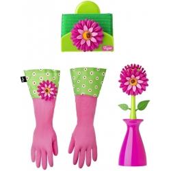 Juego de 3 piezas para lavar platos, incluye cepillo con soporte, esponja con soporte y guantes
