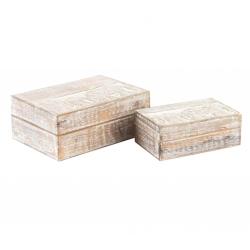 Juego de 2 caja de madera mango elefantes