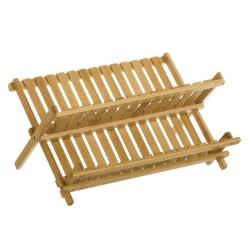 Escurreplatos de 2 alturas marrón rústico de bambú de 24x34x45 cm