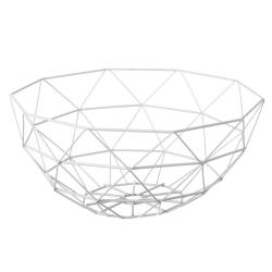Frutero blanco de metal de 35x35x15 cm