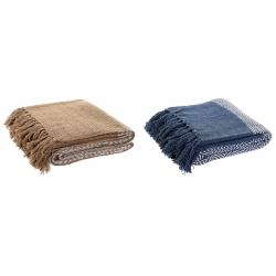 Juego de 2 Plaid de sofa algodon rombos azul y marron 170x130 cm