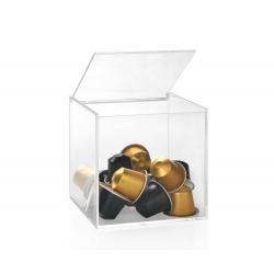 Caja transparente para cápsulas de café