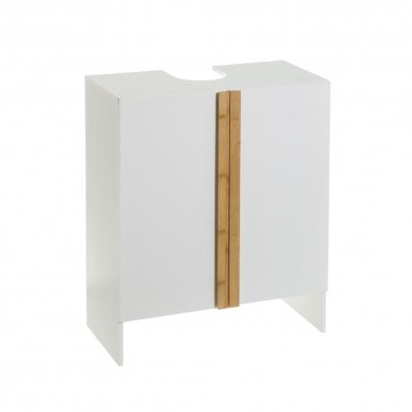 Bajo lavabo de encastrar con armario de bambú y MDF blanco nórdico de 70x29x60 cm