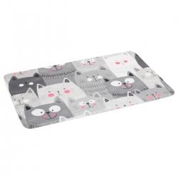 Alfombra multiuso extrasuave gatos gris microfibra 70x45 cm