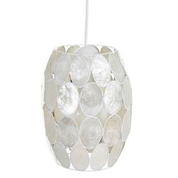 Lámpara de techo tulipa contemporánea de nácar blanco, de ø 18x25 cm