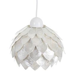 Lámpara de techo tulipa contemporánea de nácar blanco, de ø 24x17 cm
