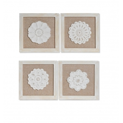 Conjunto decoracion pared madera floral 30x30 cm