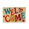 Felpudo Welcome antideslizante multicolor de fibra de coco de 60x40 cm
