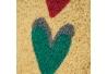 Felpudo corazones antideslizante multicolor de fibra de coco de 60x40 cm