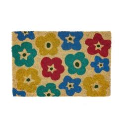 Felpudo flores antideslizante multicolor de fibra de coco de 60x40 cm