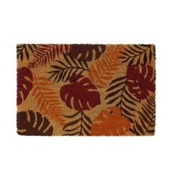 Felpudo hojas antideslizante marrón de fibra de coco de 60x40 cm