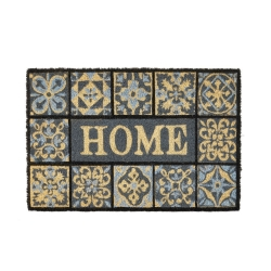 Felpudo mosaico antideslizante negro y gris de fibra de coco de 60x40 cm