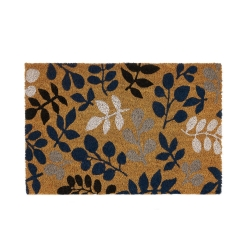 Felpudo hojas antideslizante marrón y plateado de fibra de coco de 60x40 cm