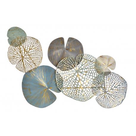 Mural cabecero metal multicolor hojas moderno para decoración