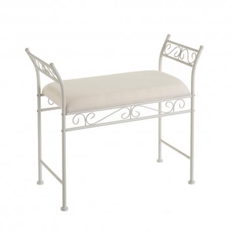 Banqueta pie de cama de metal y algodón shabby chic blanca de 73x30x65 cm