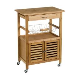 Carro de cocina con armario de bambú marrón nórdico de 80x36x60 cm