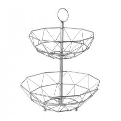 Frutero geométrico de 2 alturas plateado de metal cromado de Ø 29x38 cm