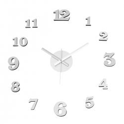 Reloj de pared adhesivo moderno plateado de polipropileno de 60 cm