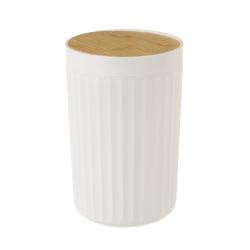 Papelera de 5 litros blanca de bambú y PVC de Ø 18x28 cm